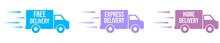 Vector Illustration. Delivery Icons. Colorful Delivery Trucks. Fast Delivery. Express Delivery. Home Delivery