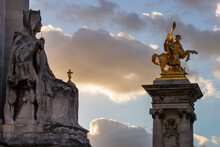 Beautiful View Of The Sculptures On The Pont Alexandre III In Paris