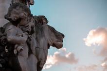 Closeup Shot Of A Lion Sculpture On The Pont Alexandre III In Paris