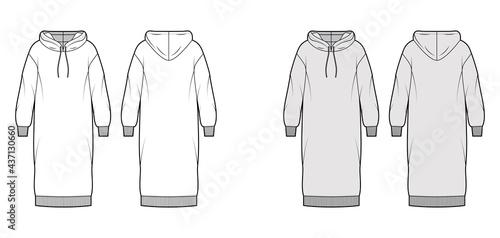 Canvastavla Dress hoody technical fashion illustration with long sleeves, rib cuff oversized body, knee length skirt