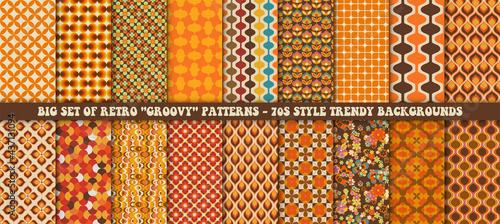 Photo Big set of 18 colorful retro patterns