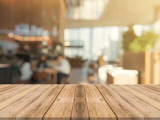 mesa de madera con fondo de cafetería