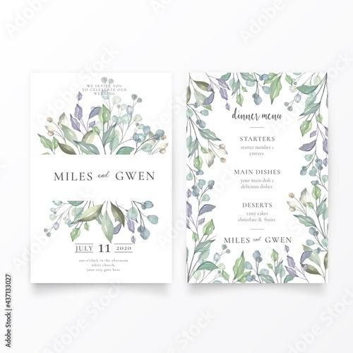 Photo lovely wedding invitation menu template design vector illustration