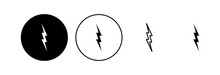 Lightning Icon Set. Electric Icon Vector. Power Icon. Energy Sign