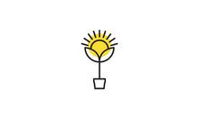 Hipster Plant Lines Sunflower Logo Symbol Icon Vector Graphic Design Illustration