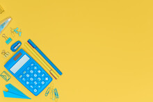 Yellow And Blue Concept Of Education, Back To School Or Office Settlements Concept. Stationery On Yellow Background With Copy Space. Calculator, Pens, Pins And Blue Paper Airplane Top View.