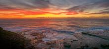 Aerial Sunrise Seascape Panorama And Rock Shelf