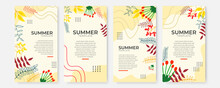 Vector Set Of Social Media Stories Design Templates, Backgrounds With Copy Space For Text - Summer Landscape. Collection Of Abstract Background Designs, Summer Sale, Social Media Promotional Content.