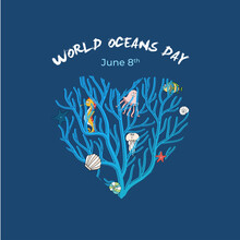 World Oceans Day. Dark Blue And Oceans Theme Design