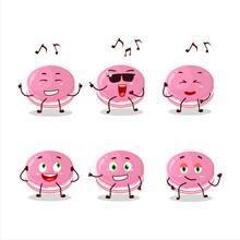 An Image Of Strawberry Dorayaki Dancer Cartoon Character Enjoying The Music