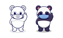 Cute Panda Wearing Mask Cartoon Coloring Pages For Kids