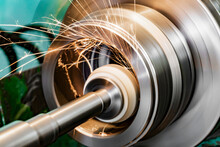 Metal Grinding, Internal Grinding With An Abrasive Wheel On A High-speed Spindle Of A Circular Grinding Machine.
