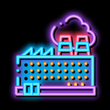 Industrial Plant Building Neon Light Sign Vector. Glowing Bright Icon Transparent Symbol Illustration