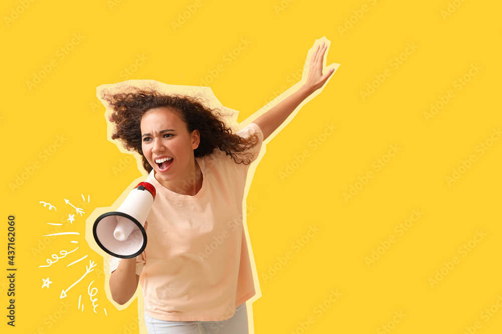 Leinwandbild Motiv - Pixel-Shot : Angry protesting African-American woman with megaphone on color background