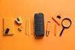 Leinwandbild Motiv Pencil case with stationery on color background