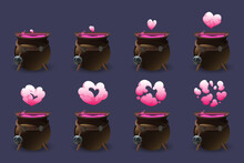 Cauldron With Love Potion Motion Sequence Animation. Pink Heart Cloud Of Magic Elixir Appear From Witch Pot And Then Pass Away. Ui Design Element For Game, Wizard Poison Isolated Cartoon Vector Set