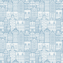 Seamless Pattern Of Old European City. Holland Houses Facades In Traditional Dutch Style. The Decorative Architecture Of Amsterdam. Background