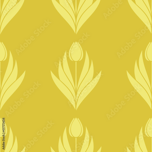 Fotografia Seamless pattern with a pattern of the silhouette of tulips and leaves