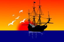 Sailing Ship At Sunset.