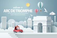 Paper Art Of Red Car Take Travel To Arch Of Triumph In Paris After Covid-19 Outbreak End, Safe Travels And Journey In Paris Concept