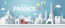 Paper Art Of Red Car Take Travel To Paris After Covid Outbreak End, Safe Travels And Journey In Paris Concept