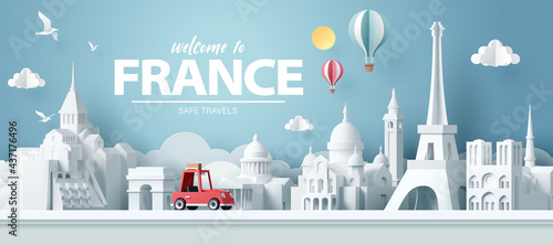Fotografija Paper art of red car take travel to paris after covid outbreak end, safe travels