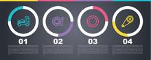 Set Line Car Transporter Truck, Tire Pressure Gauge, Tire Wheel And Timing Belt Kit. Business Infographic Template. Vector