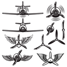 Set Of Retro Airplanes, Propellers, Wings. Design Element For Logo, Label, Sign, Poster. Vector Illustration