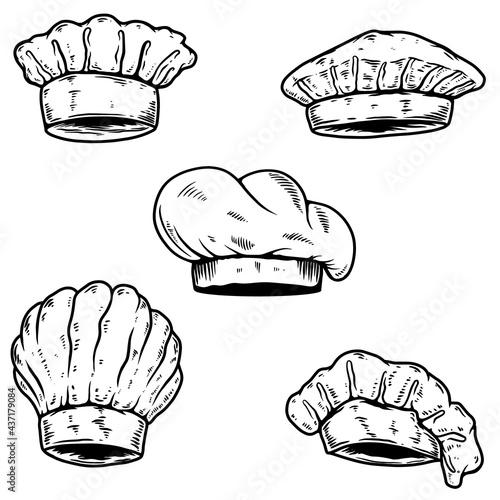 Set of chef's hat. Design element for logo, label, sign, poster. Vector illustration