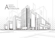 3D Illustration Linear Drawing. Imagination Architecture Urban Building Design, Architecture Modern Abstract Background.