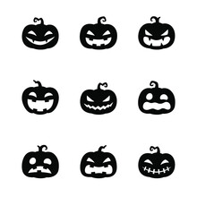Cute Halloween Pumpkins Emotion Icon Set, Happy Halloween Holiday For Decoration, Silhouette Design, Vector Illustration