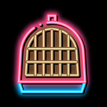 Pet Cage Neon Light Sign Vector. Glowing Bright Icon Pet Cage Sign. Transparent Symbol Illustration