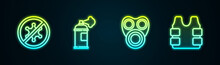 Set Line Protest, Paint Spray Can, Gas Mask And Bulletproof Vest. Glowing Neon Icon. Vector