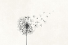 Illustration Of Dandelion Vanishing In The Air With The Wind, Surreal Concept Symbol
