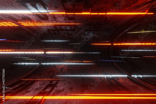Fotografiet Technology glowing plasma engine tube tunnel alien spaceship background 3D rende