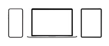 Collection Blank Screen Of New Model Smartphone, Laptop , Tablet Isolated With On White Background