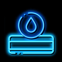 Mattress Water Drop Neon Light Sign Vector. Glowing Bright Icon Mattress Water Drop Sign. Transparent Symbol Illustration