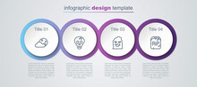 Set Line Moon And Stars, Skull, Funny Scary Ghost Mask And Tombstone With RIP Written. Business Infographic Template. Vector
