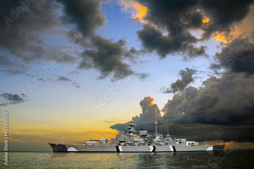 Bismarck ( Germany) battleship model with sunset sky ,hobby, childhood;, Fototapete