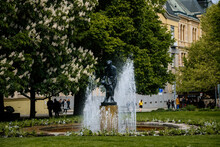 Smetanovy Sady Or Smetana Park Municipal Park In Center Of Plzen In Sunny Day, Bronze Water Fountain With Statue Of Mother With Child, Trees, Pilsen, Western Bohemia, Czech Republic