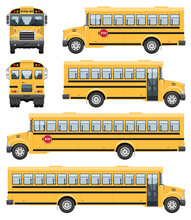 School Buses Vector Template With Simple Colors Without Gradients And Effects. View From Side, Front And Back