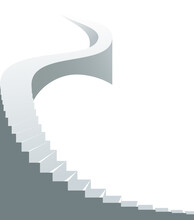 Stairway To Heaven Vector Illustration, Stairs Up To Success, Career Concept, Huge Stairs Up.