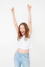 Cheerful Happy Teen Girl In White T-shirt