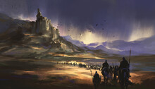 A Legion Marching Towards The Medieval Castle, 3D Illustration.