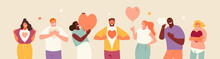 Smiling People Expressing Love With Hearts In Their Hands. Valentine's Day. Love And Greeting. Volunteering Concept. Vector Illustration