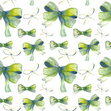 Watercolor Illustration. Seamless Pattern Of Green Bows In Watercolor Style