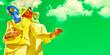 Leinwandbild Motiv couple against the radioactive sky