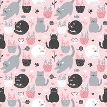 Cute Seamless Vector Background With Funny Cats And Flowers In Cartoon Style, With Flower Pots