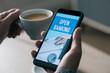 Leinwanddruck Bild - man reading text open banking in his smartphone