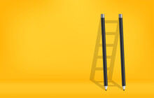 Pencils With Shadow Of Ladder Background, Stair Of Challenge To Achieve Business Success Concept